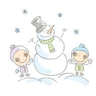 Snowman and kids