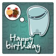 Happy birthday card with cute colorful monster vector N3