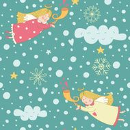 Seamless pattern with Christmas angels N2