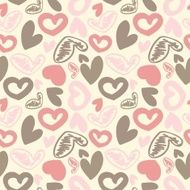 Fun seamless vintage love heart background in pretty colors N3