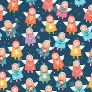 Seamless pattern with Christmas angels N3