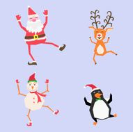 Cartoon Christmas with Santa Claus deer snowman and penguin