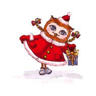 Owl Maiden in a red coat with gift Vector watercolor
