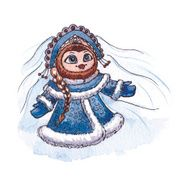 Owl Snow maiden character Vector Watercolor isolated