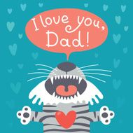 Card happy father's day with funny tiger cub N2
