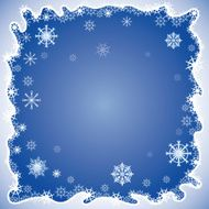 Background with ornamented abstract cartoon silhouette snowflakes