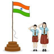 Indian student saluting flag of India