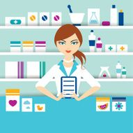 Young pharmacy chemist girl standing in drugstore Flat vector