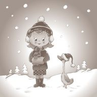 Monotone winter girl and duck in snow