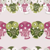 Cute colorful seamless pattern with owl Green pink purple background