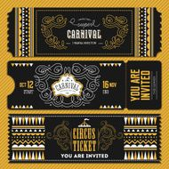 Vintage Circus banner collection Ticket invitation Vector illustration