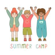 Joyful children in a summer camp logo