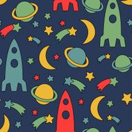 Seamless space pattern Cosmic background with stars planet spaceship moon
