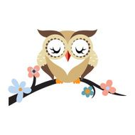 Cartoon owl on a flowering tree branch