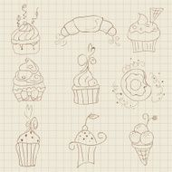 Set of Cute Cupcakes and Desserts