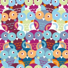 Cute colorful seamless pattern with owl Blue pink purple orange