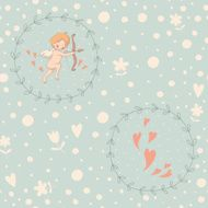 Seamless pattern with Cupid in a wreath