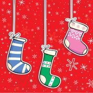 colorful Christmas Stockings at red background, illustration