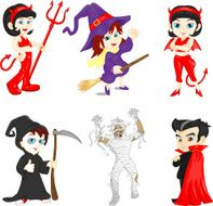 Cute group of little cheerful children with different Halloween costumes