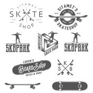Set of skateboarding labels badges and design elements