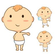 Happy baby mascot cartoon set