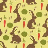 Brown rabbits orange carrots green cabbages and little footprints