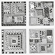 Set of patterns with abstract figures