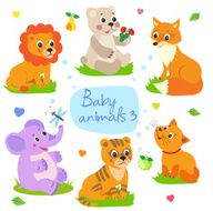 Baby animals Lion bear fox elephant tiger cat