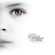 Child's face eye and american flag