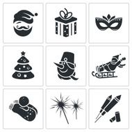 Christmas vector icons set N10