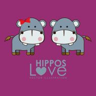 pair of cartoon Hippos on purple background