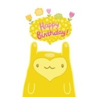 Cute monster Happy Birthday card