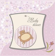 Greeting card with teddy bear for baby girl