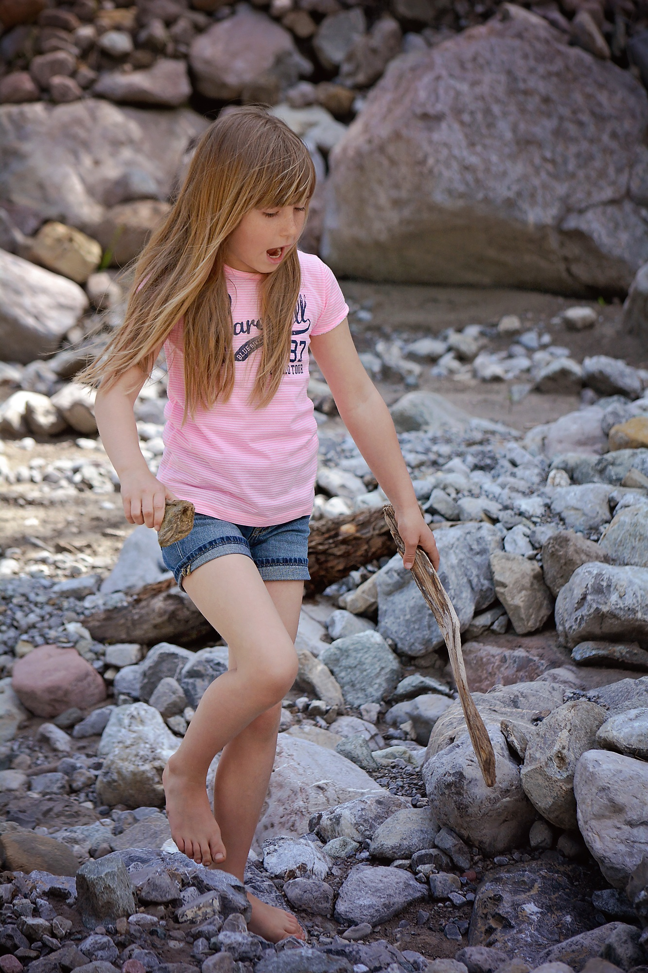 Little Girls Nails And Girls On Pinterest: Little Girl With Long Hair On The Rocks Near The Pond Free