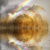 Landscape Picture of rainbow and pond