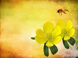 The painting depicts a bee and yellow flowers