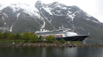 Cruise liner among the fjords of Norway