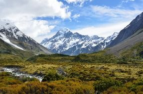 Mount Cook with a green valley in new zealand