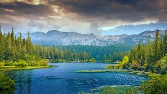 delightful mountains lake landscape