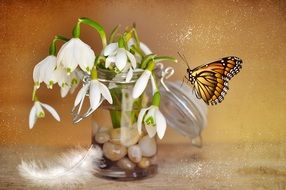Butterfly on flowers in a vase