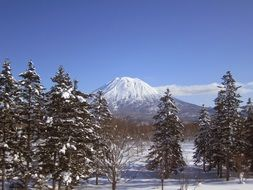 distant view of yotei mountain in japan