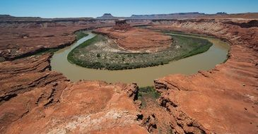 The green river flows in a semicircle