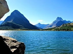 lake among the rocky mountains in the park Waterton Lakes