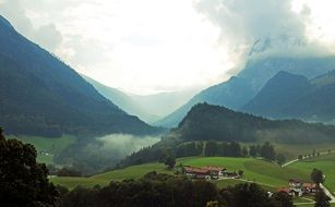 Panorama view of mountains and valleys in upper Bavaria
