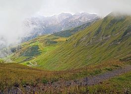 panorama of the mountain alpine landscape