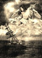 angel in sky above drowning sailing vessel, drawing