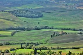panorama of green fields in Tuscany