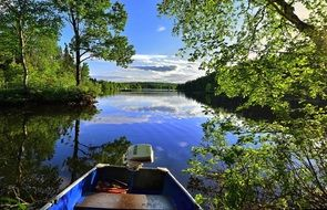 boat on a picturesque lake in quebec
