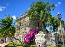 coral old castle in palm trees florida