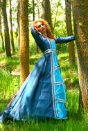 young woman in blue princess dress